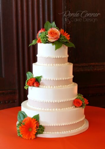 Buttercream w/ Fonant Bands Wedding Cake