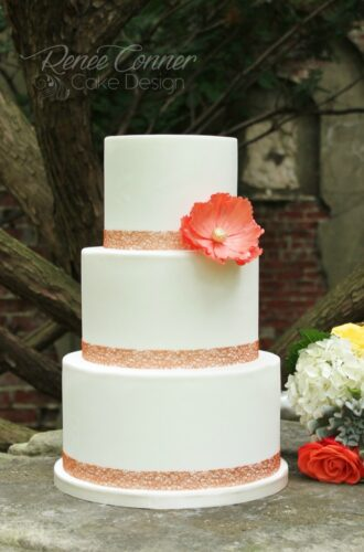 Coral Flower Simple Wedding Cake