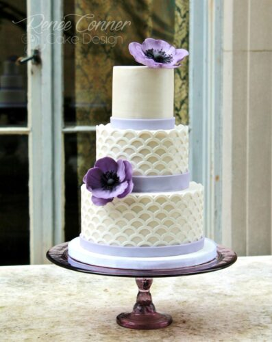 Scalloped Lattice Purple Anemone Wedding Cake