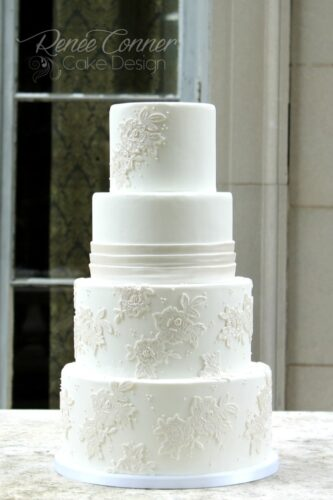 White Lace Applique Cake