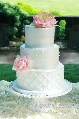 White Satin Peony Wedding Cake