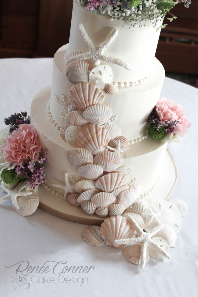 sea shell cascade cake renee conner cake design. Black Bedroom Furniture Sets. Home Design Ideas